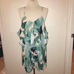Pink & Green Palm tropical cold shoulder dress